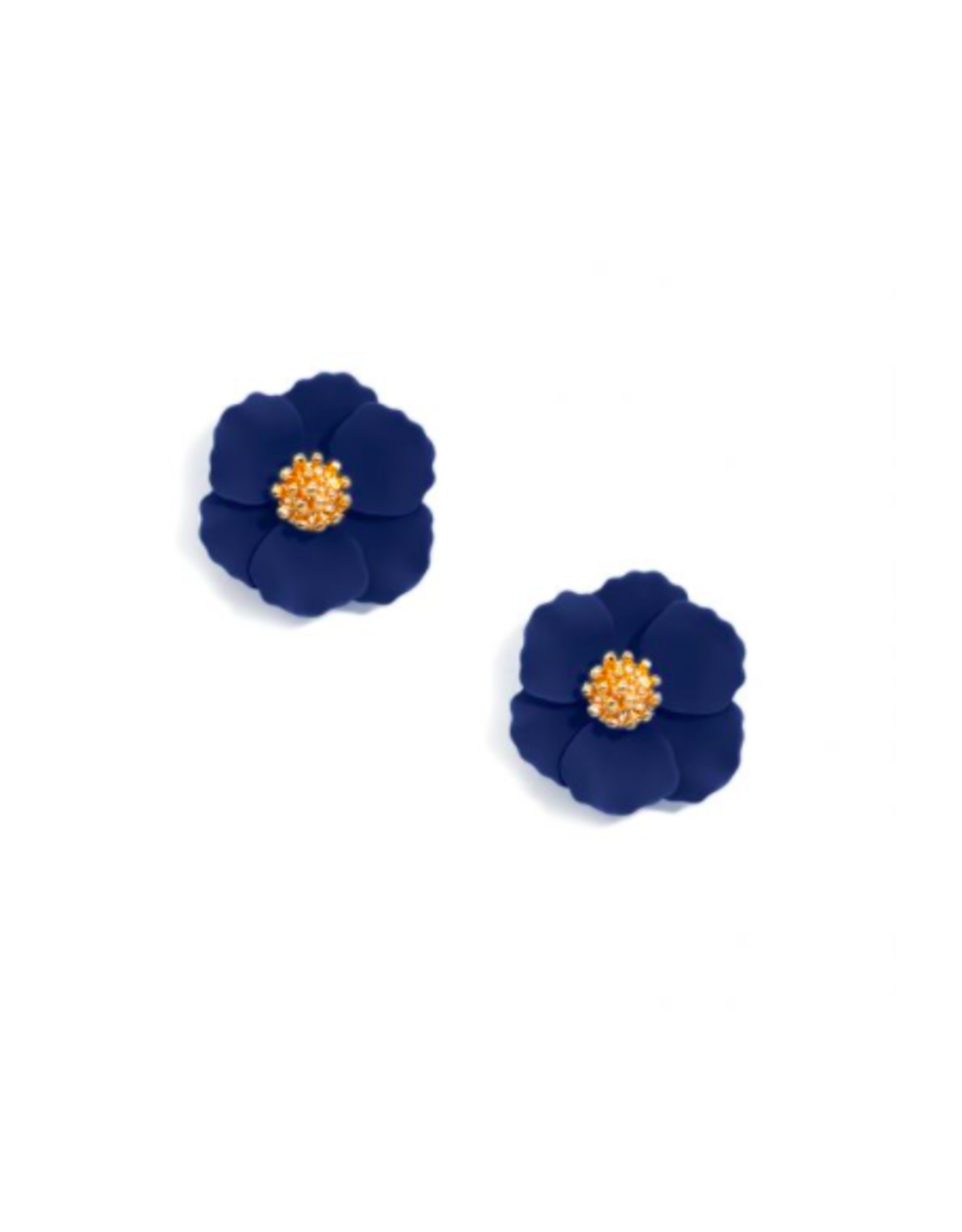 Zenzii Tiny Flower Earring in Navy