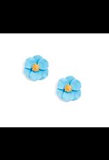 Zenzii Tiny Flower Earring in Light Blue