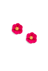 Zenzii Tiny Flower Earring in Hot Pink