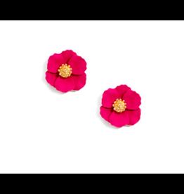 Zenzii Tiny Flower Earring in Hot Pink