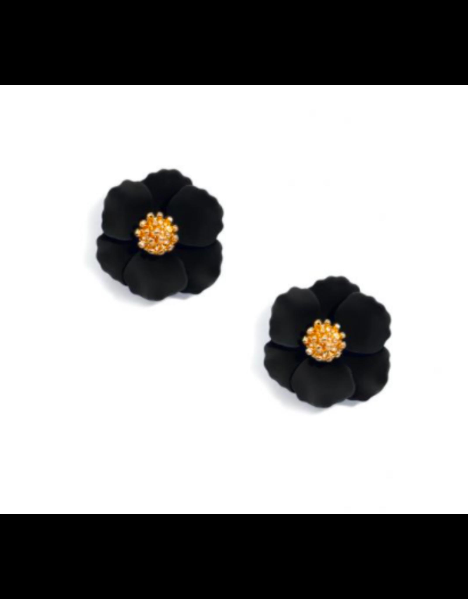 Zenzii Tiny Flower Earring in Black