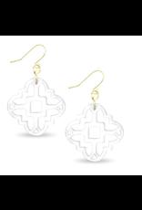 Zenzii Modern Mosaic Earrings in White