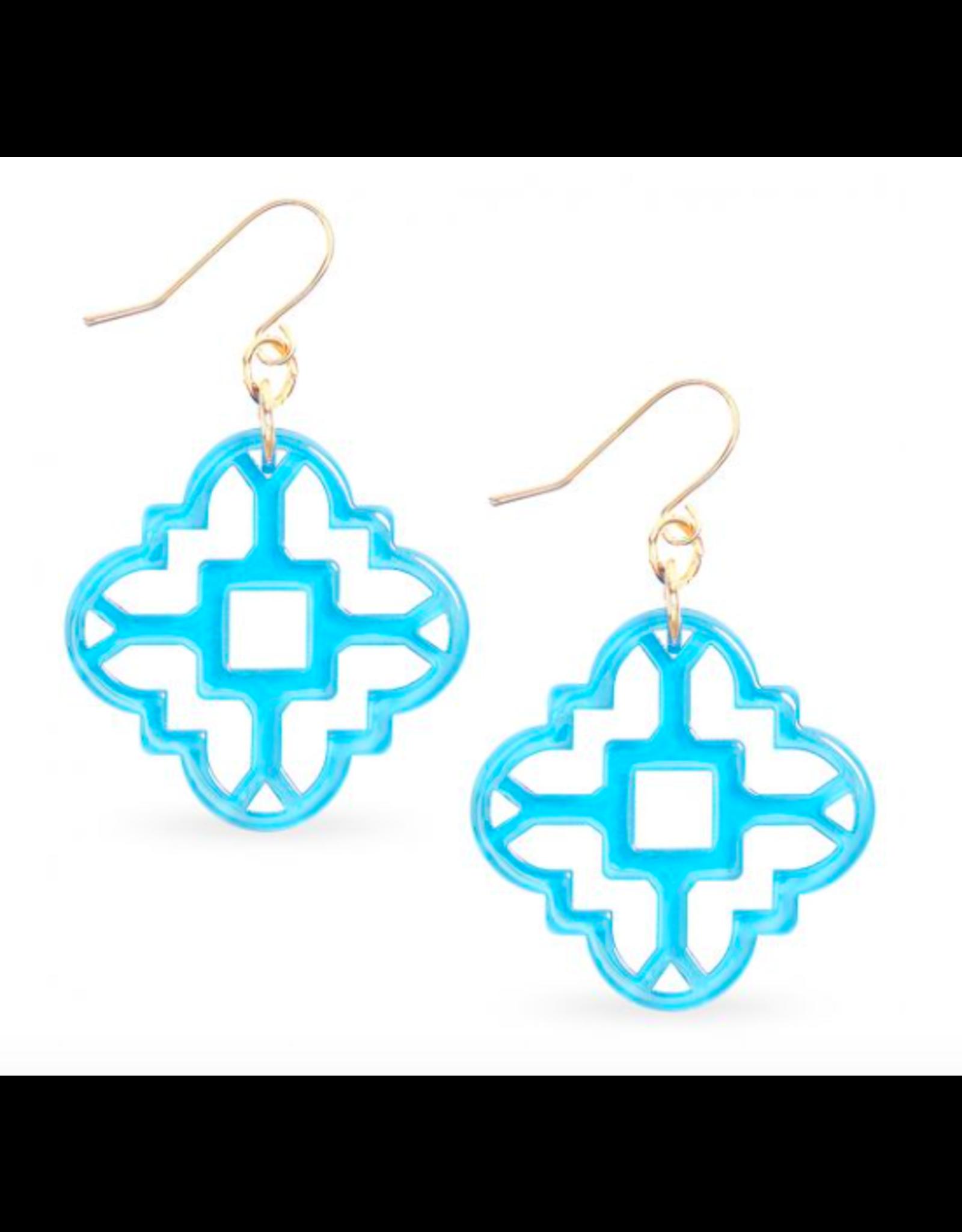 Zenzii Modern Mosaic Earrings in Bright Blue