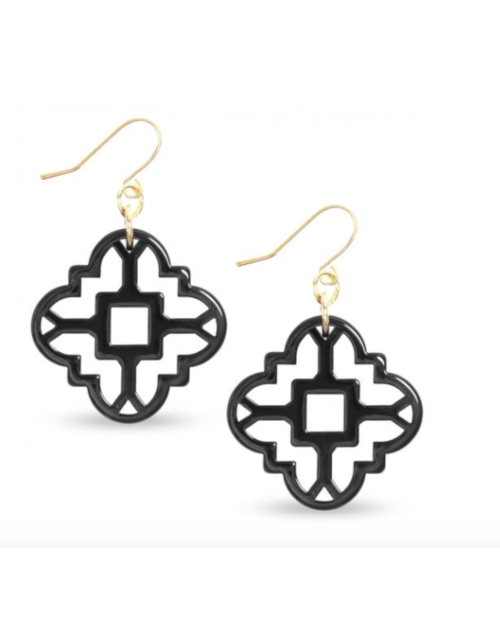 Zenzii Modern Mosaic Earrings in Black