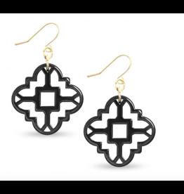 Zenzii Modern Mosaic Earrings in Black