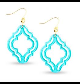 Zenzii Lattice Drop Earring in Bright Blue