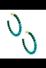 Zenzii Porcelain & Resin Beaded Hoop Earring in Green