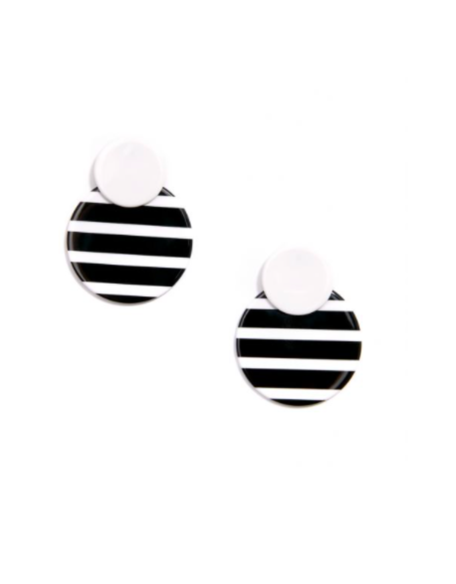 Zenzii Circle Drop Black & White Earrings