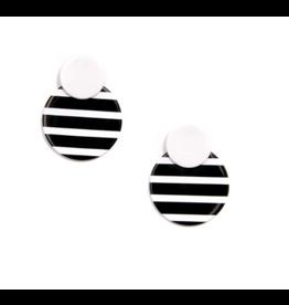 Zenzii Circle Drop Black & White Earrings