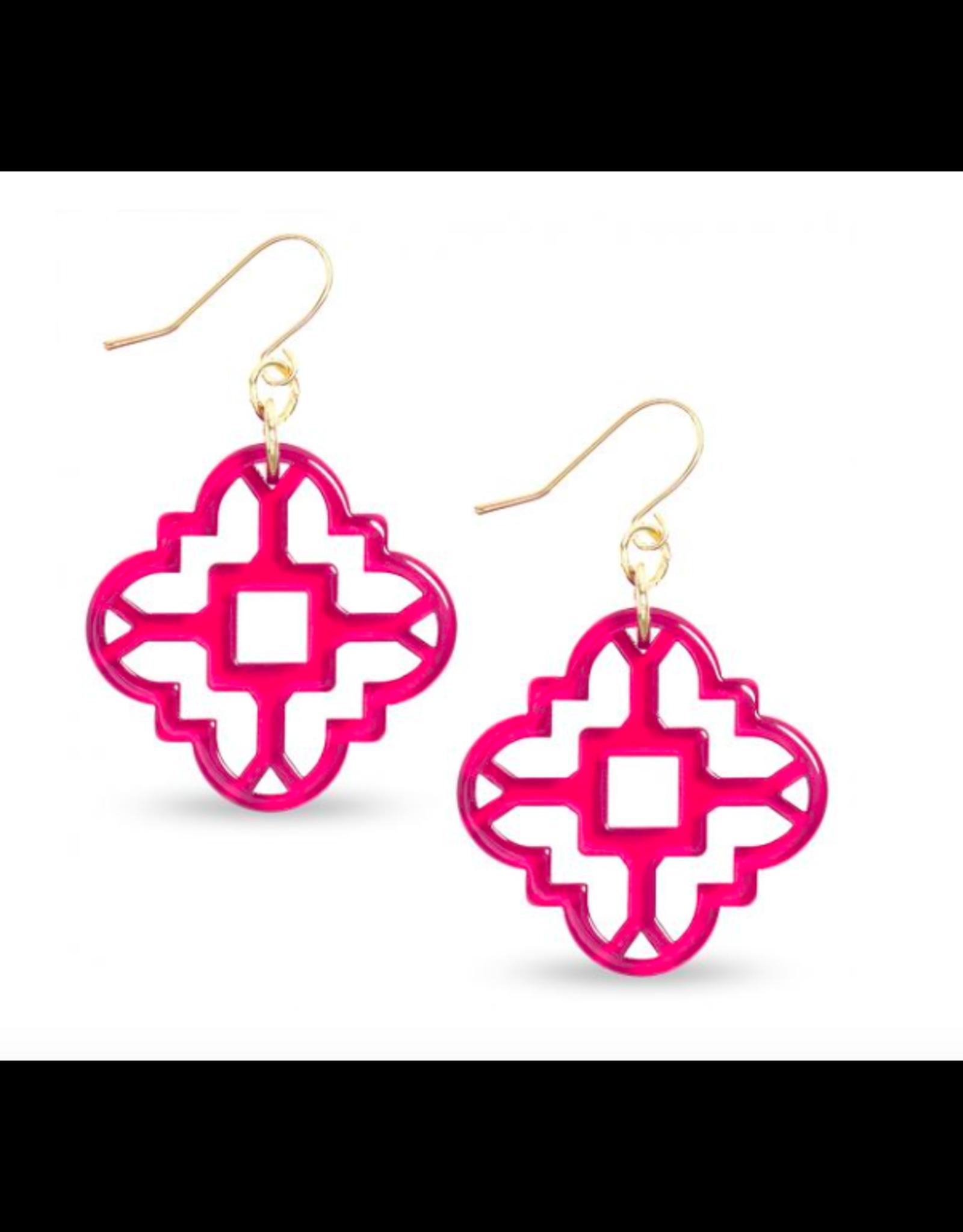 Zenzii Modern Mosaic Earrings in Hot Pink