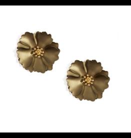 Zenzii Metallic Camellia Earring in Tan