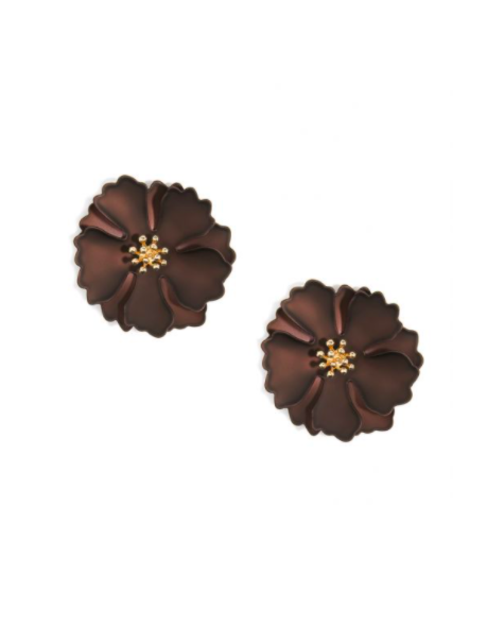 Zenzii Metallic Camellia Earring in Brown