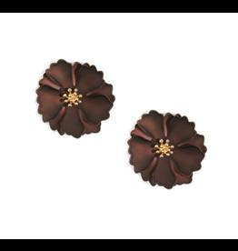 Zenzii Metallic Camellia Earring in Brown