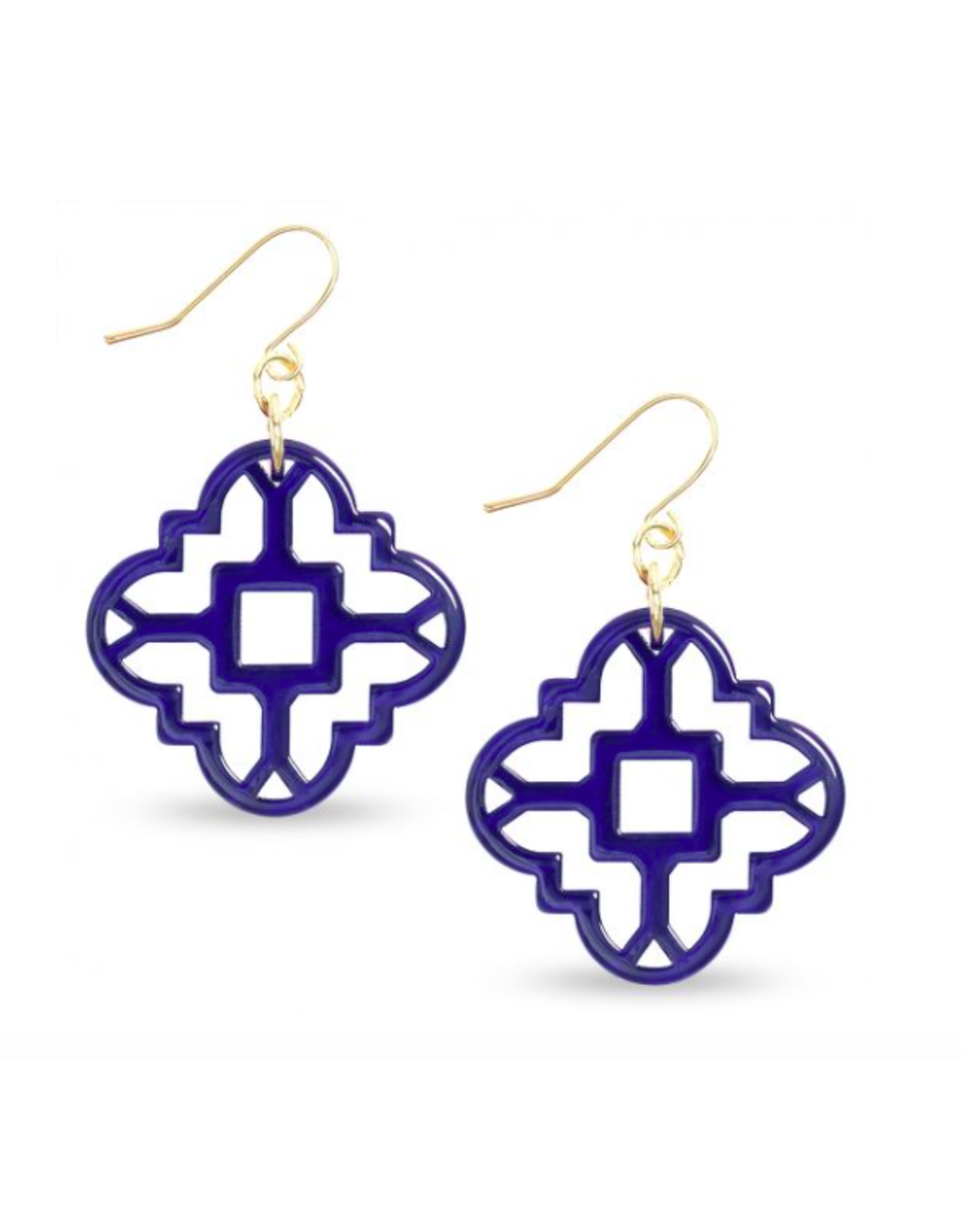Zenzii Modern Mosaic Earrings in Navy