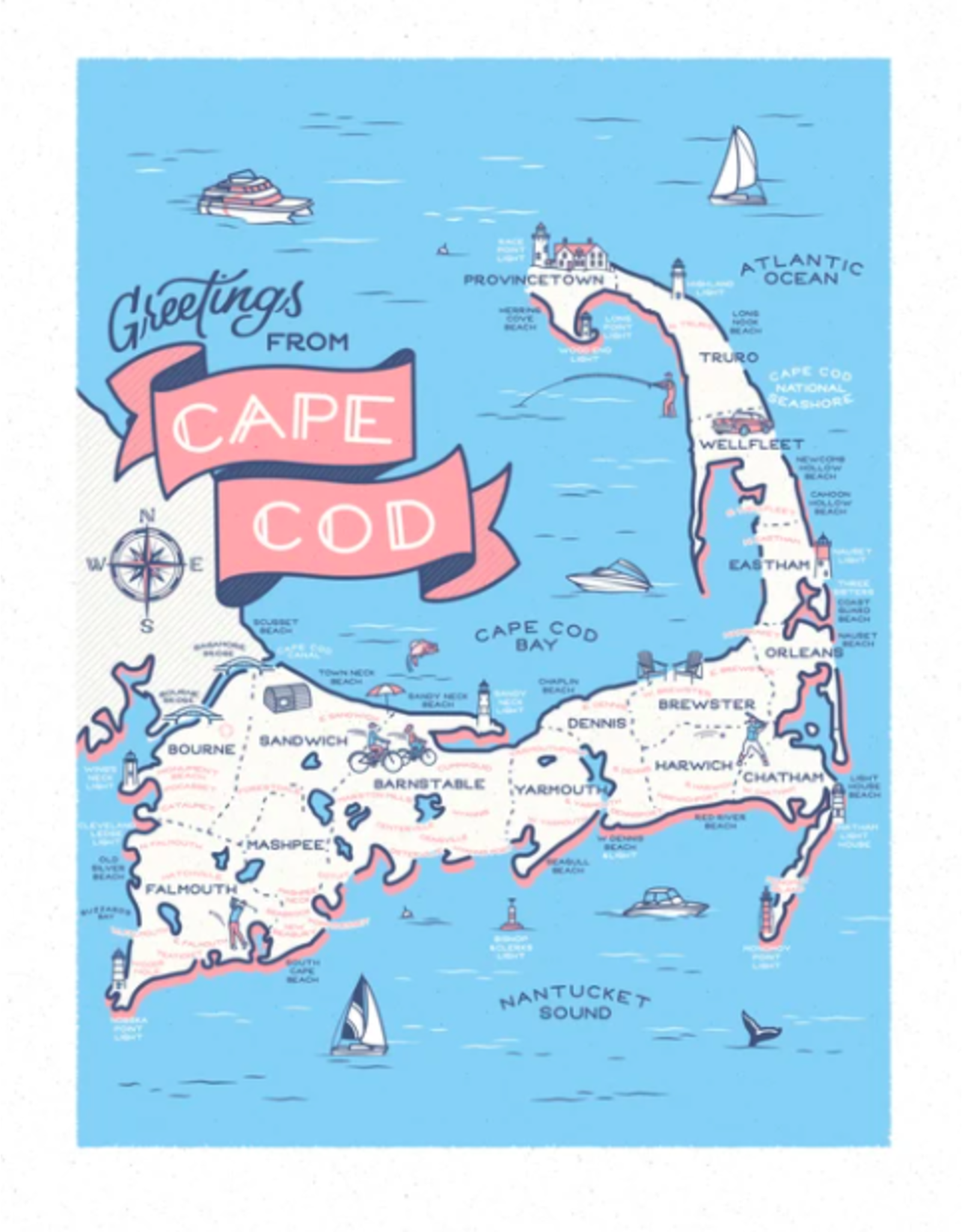 Casey Circle Cape Cod Map Print by Casey Circle