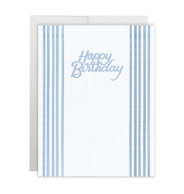 Casey Circle Blue Stripes Birthday Card