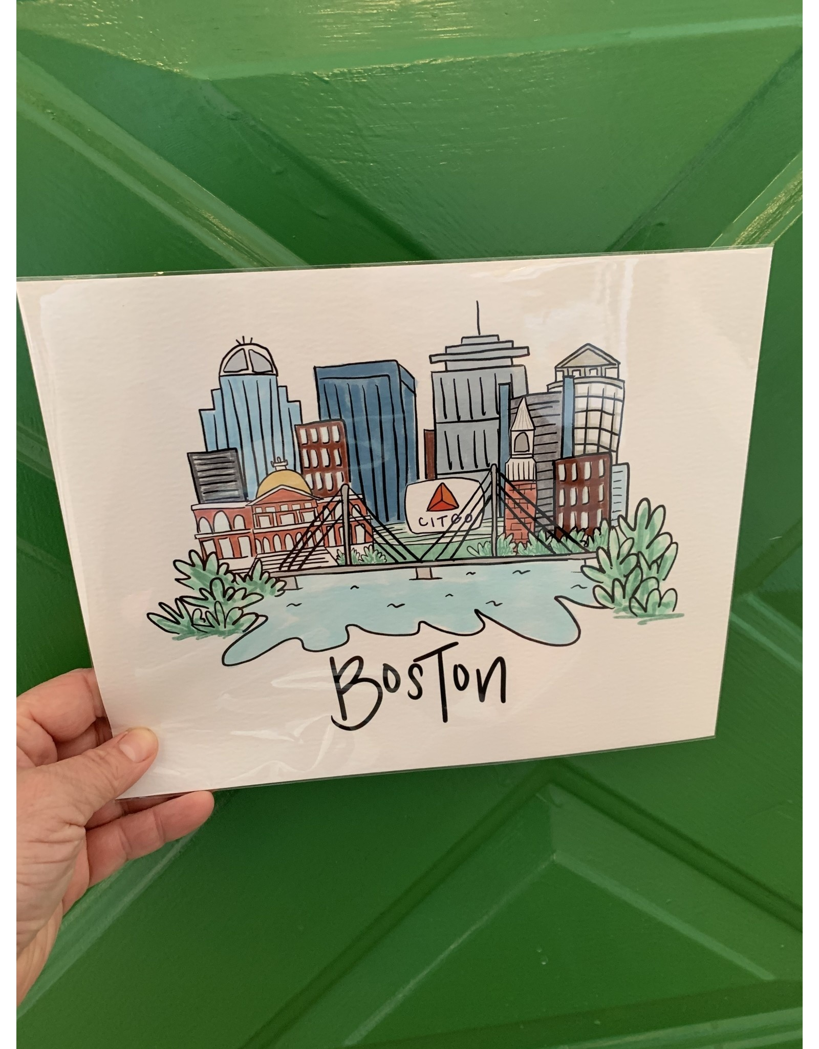 Anna Whitham Boston Skyline Print by Anna Whitham