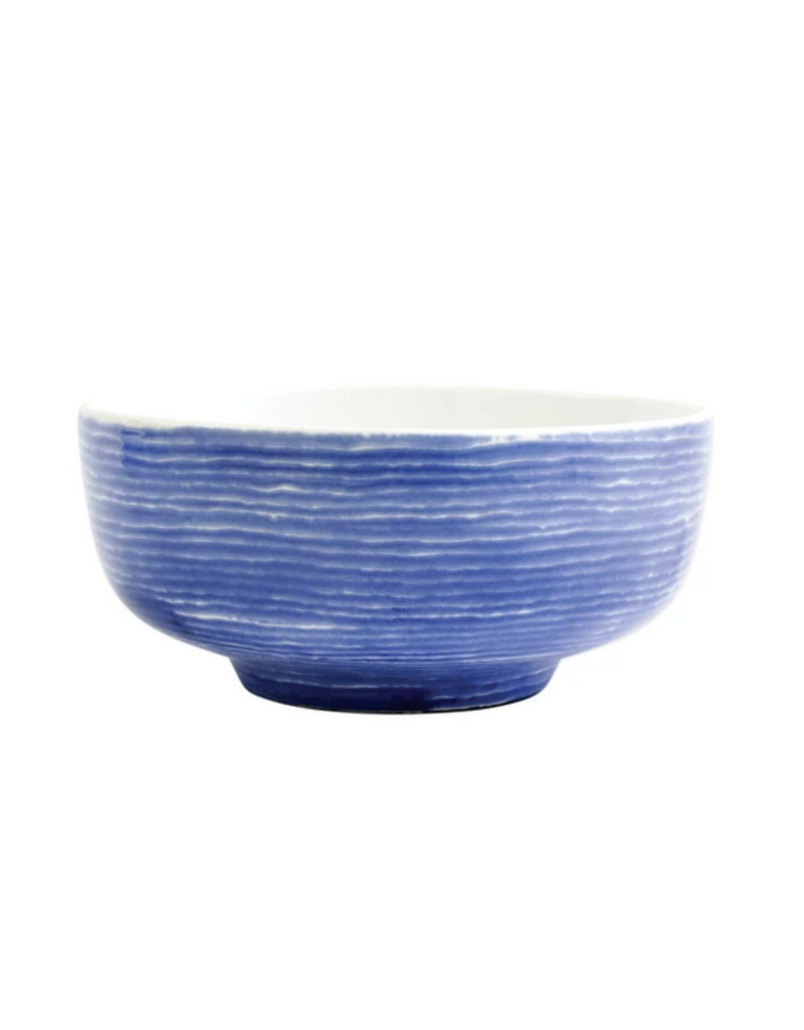Vietri Santorini Stripe Medium Footed Serving Bowl