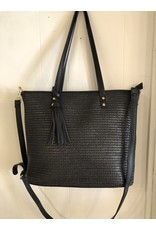 Accessories Shop by Place & Gather Black Straw Tassel Tote