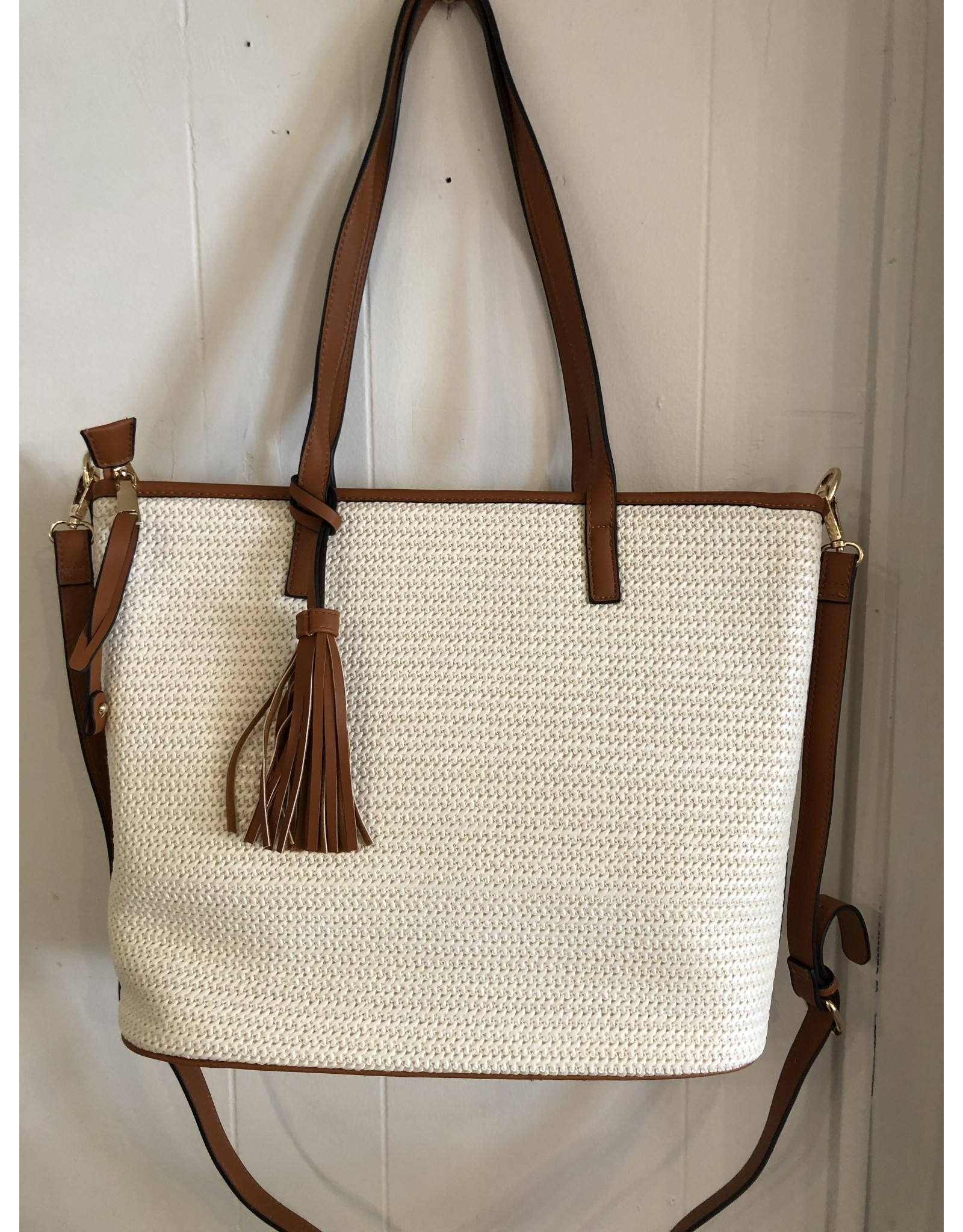 Accessories Shop by Place & Gather White Straw Tassel Tote
