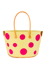Accessories Shop by Place & Gather Capri Dot Raffia Bag in Fuchsia