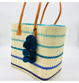 Accessories Shop by Place & Gather Capitola Raffia Bag in Pin Stripes Turquoise
