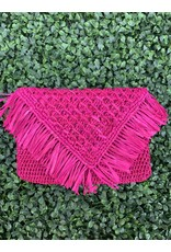 Pismo Raffia Clutch in Fuchsia