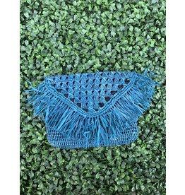 Pismo Raffia Clutch in Turquoise