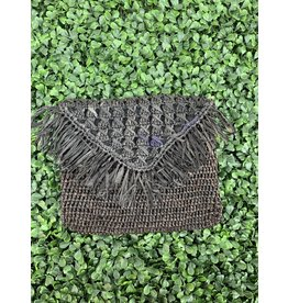 Pismo Raffia Clutch in Black