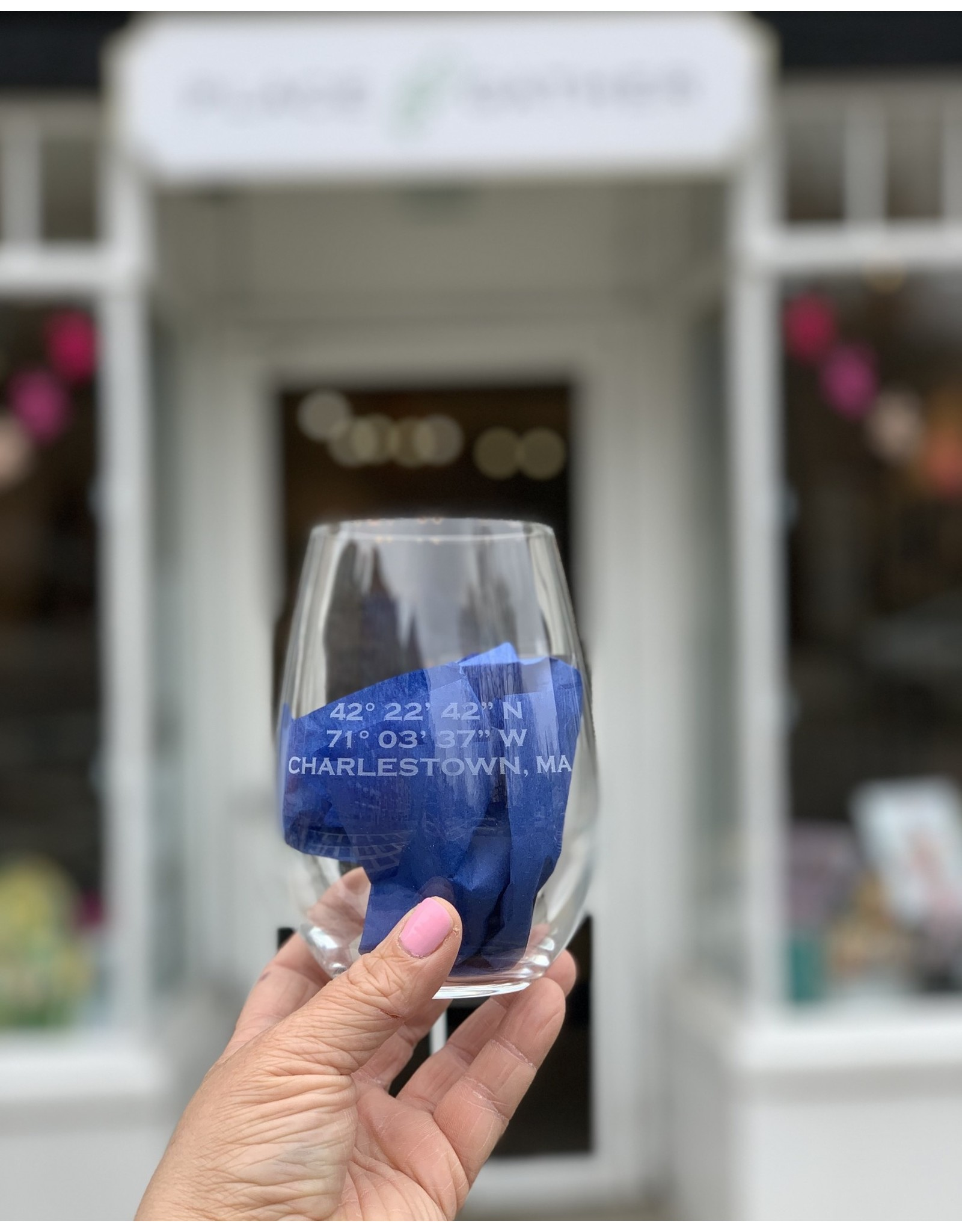 Maple Leaf at Home Longitude and Latitude with Charlestown Wine Glass