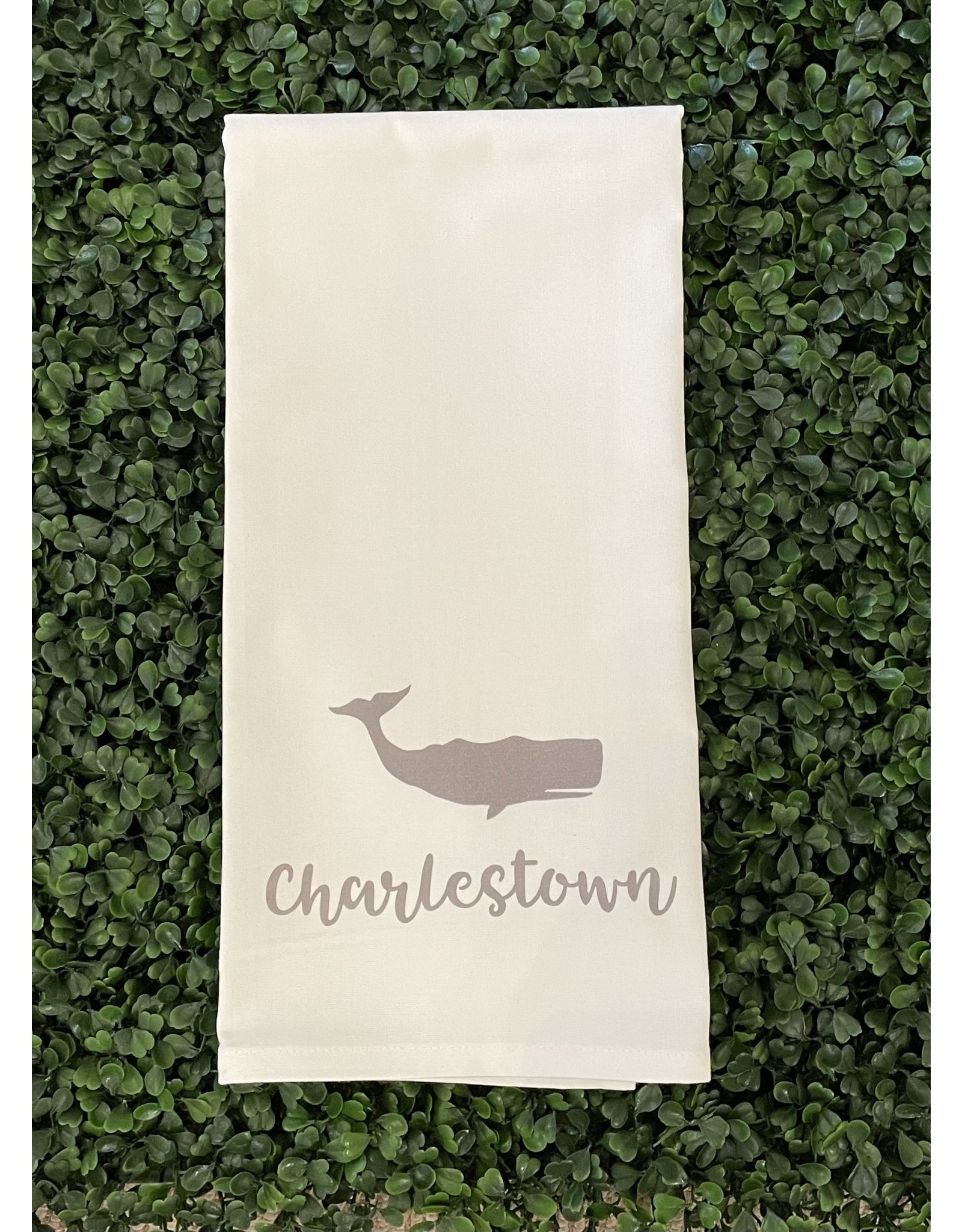 Marshes Fields and Hills Charlestown Whale Tea Towel in Dorian Gray