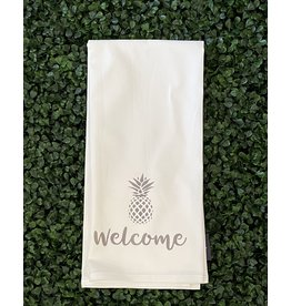 Marshes Fields and Hills Welcome Pineapple Tea Towel in Dorian Gray