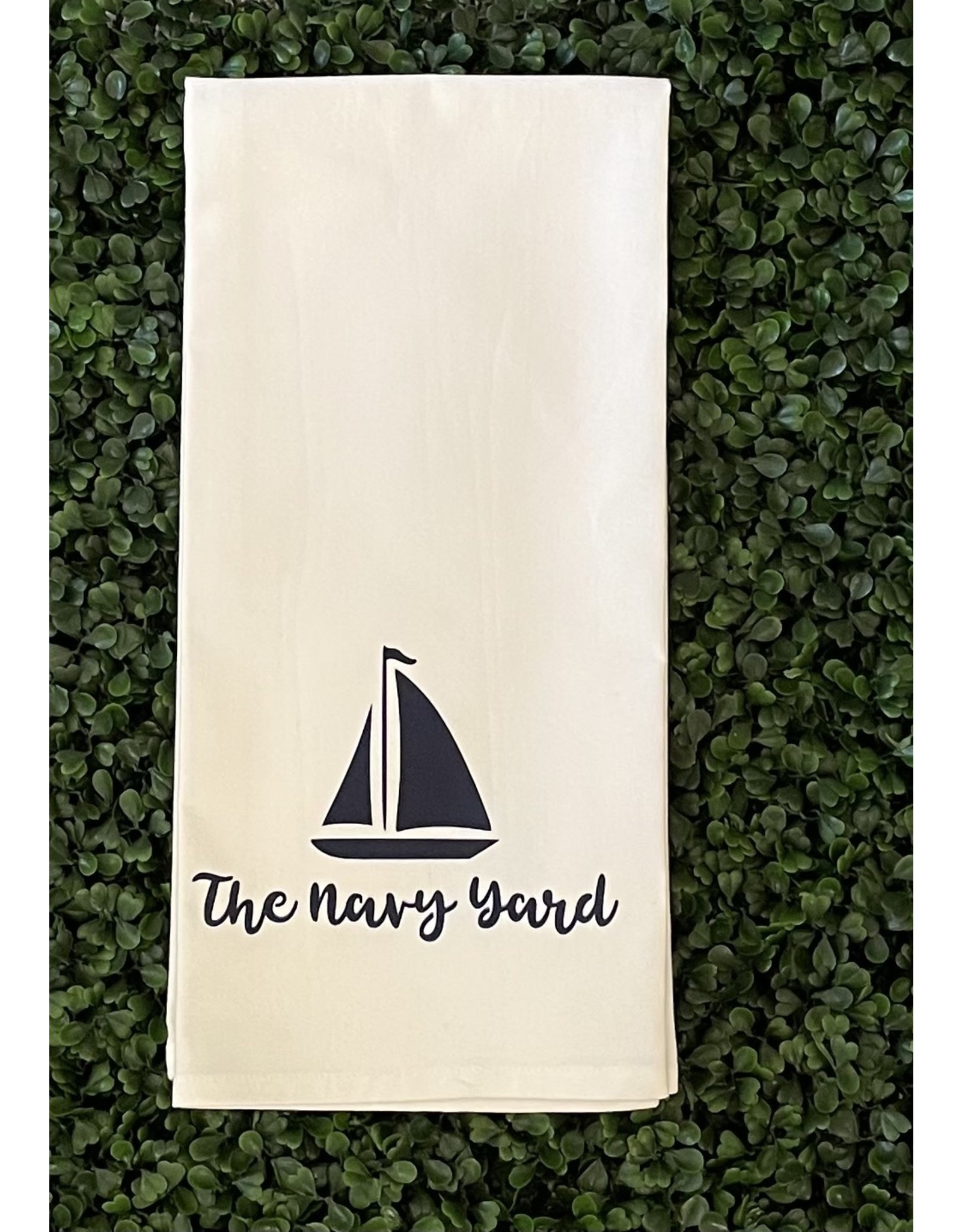 Marshes Fields and Hills Navy Yard Sailboat Tea Towel in Hale Navy