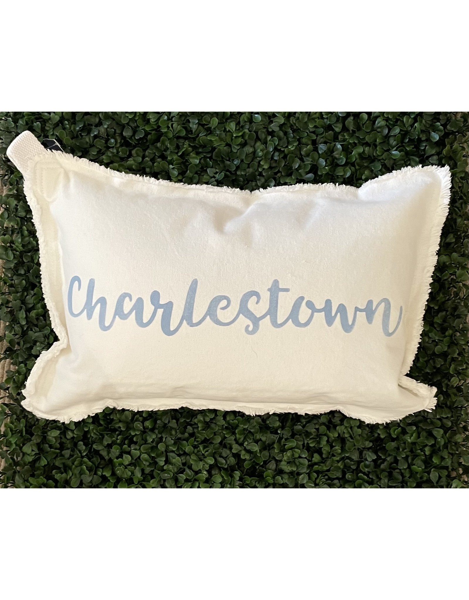 Marshes Fields and Hills Charlestown Script 12x18 Pillow in Sky Blue