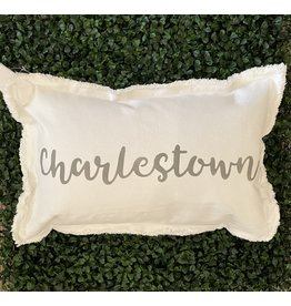 Marshes Fields and Hills Charlestown Script 12x18 Pillow in Dorian Gray