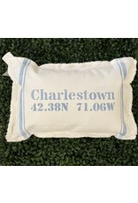 Marshes Fields and Hills Coordinate Border Stripe 12x18 Pillow in Sky Blue