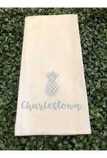 Marshes Fields and Hills Charlestown Pineapple Tea Towel in Sky Blue