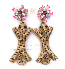 Beth Ladd Collection Leopard with Pink Top Earrings by Beth Ladd