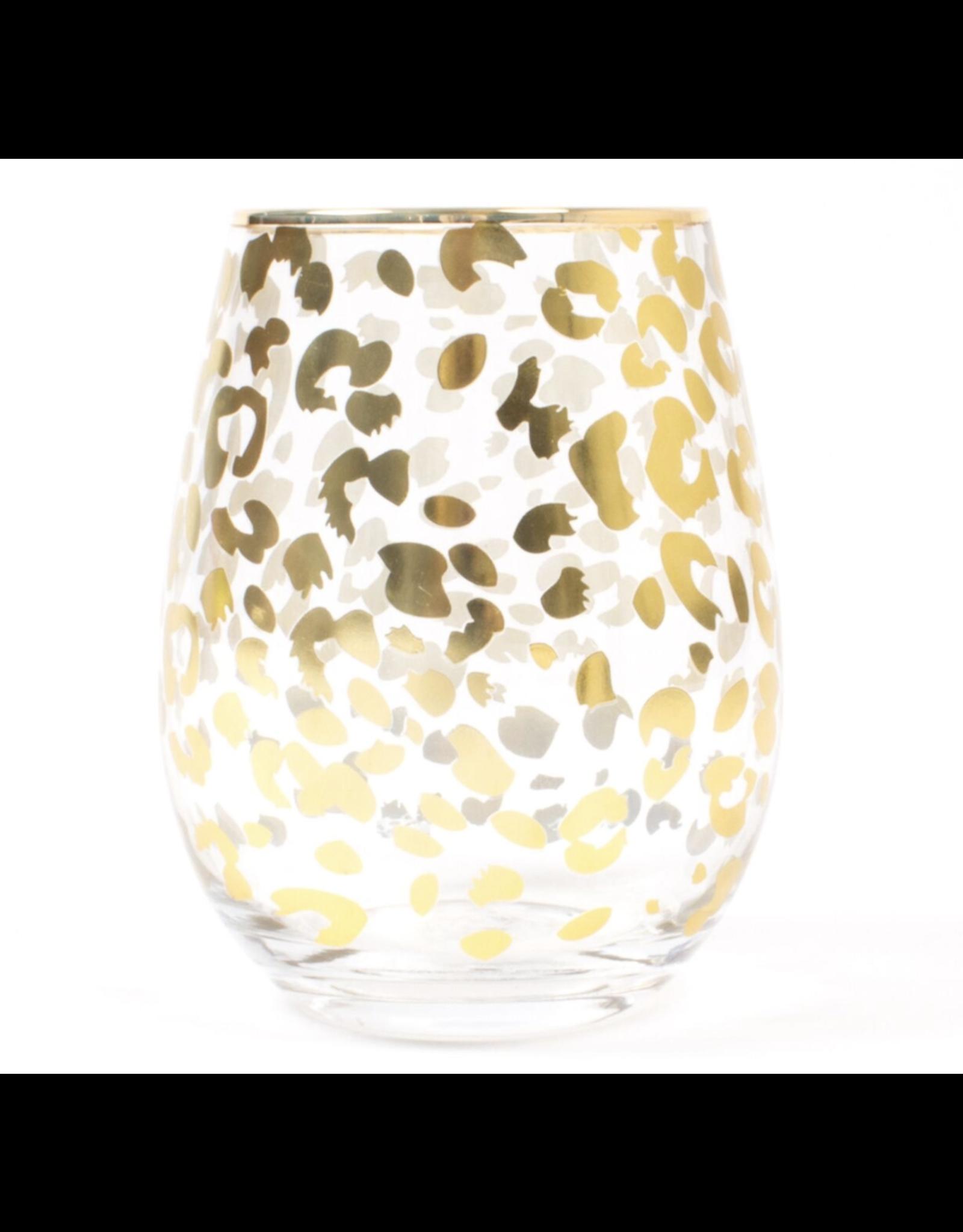 Stemless Gold Leopard Wine Glass