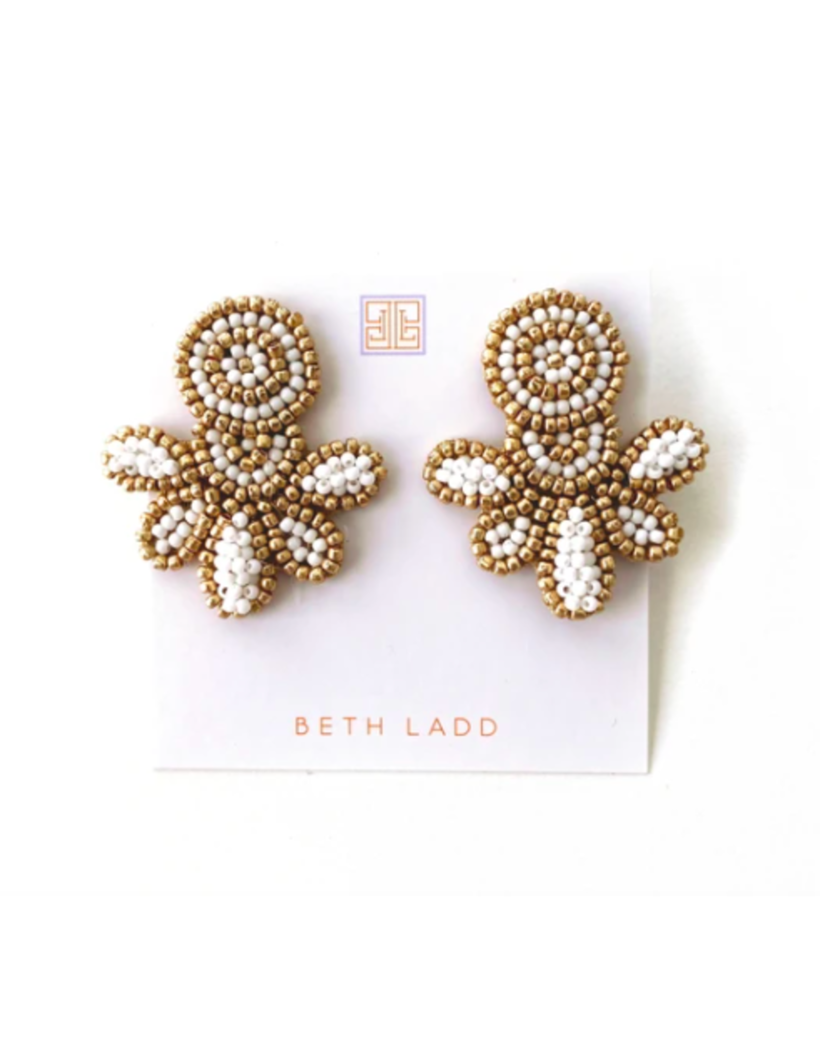 Beth Ladd Collection Love Studs in Gold and White by Beth Ladd