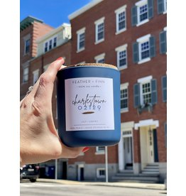 Feather + Finn Charlestown Lily + Leaves Candle in Navy by Feather + Finn