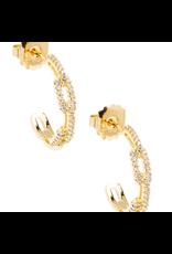 Zenzii Crystal Link Hoop Earring in Gold