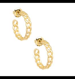 Zenzii Link Hoop Earring in Matte Gold