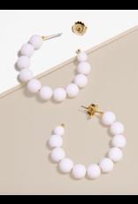 Zenzii Matte Beaded Small Hoop in White