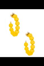 Zenzii Matte Beaded Small Hoop in Yellow
