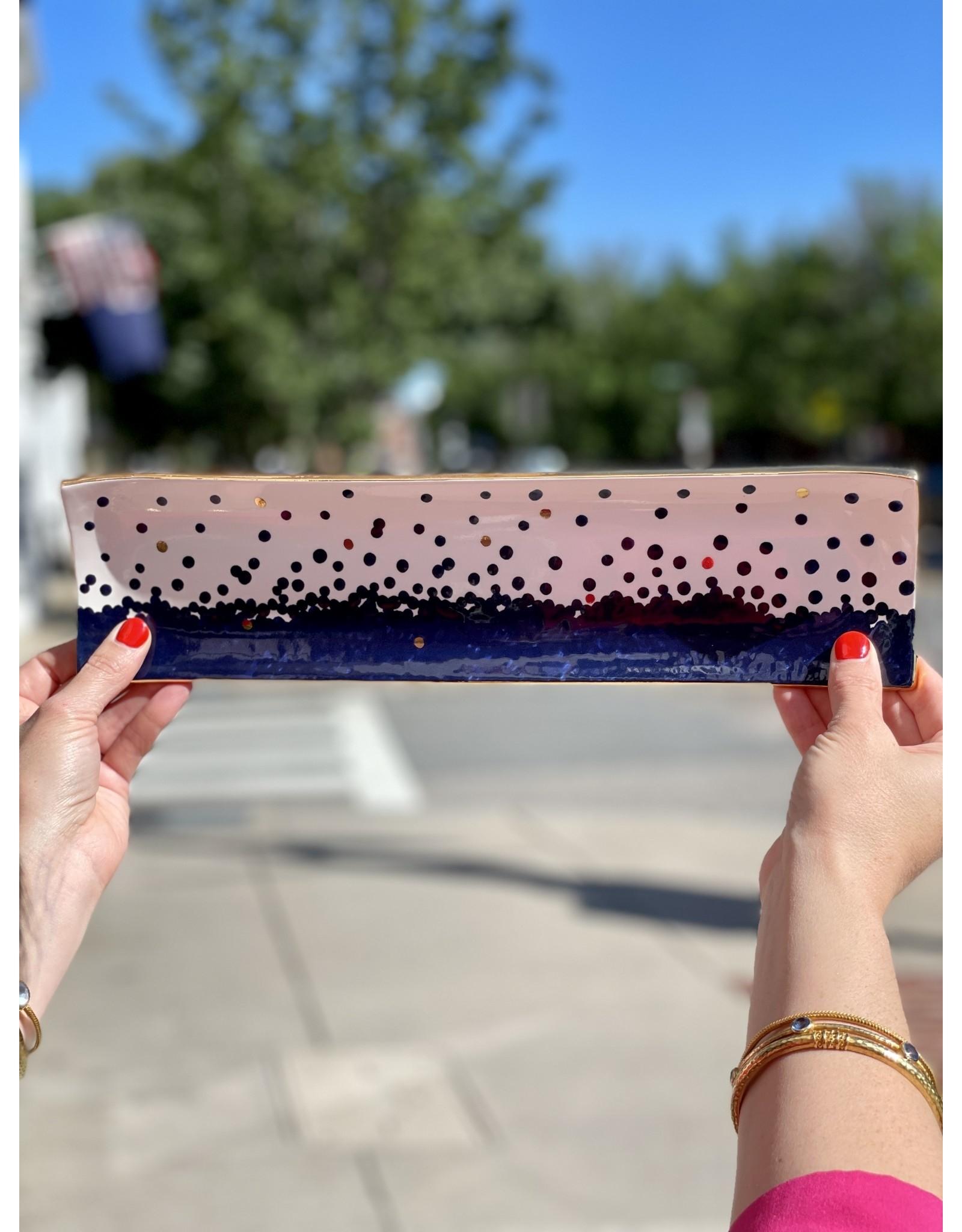 Jill Rosenwald Oyster Tray in Bubbly Blue + Gold Dot by Jill Rosenwald
