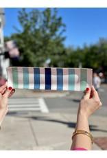 Jill Rosenwald Oyster Tray in Aqua Canopy Stripes by Jill Rosenwald