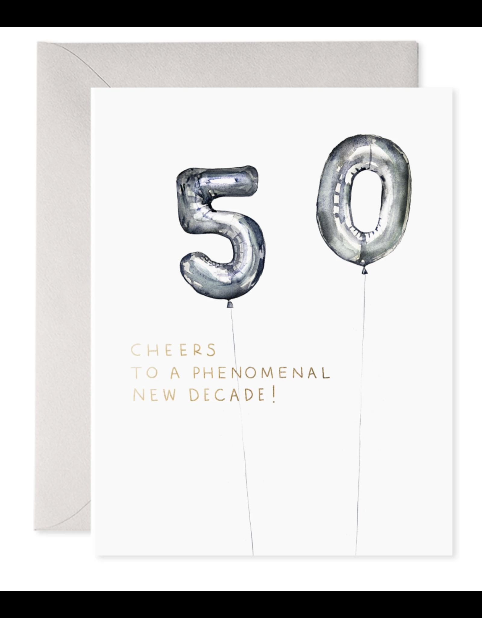 E. Frances Helium 50 Birthday Card
