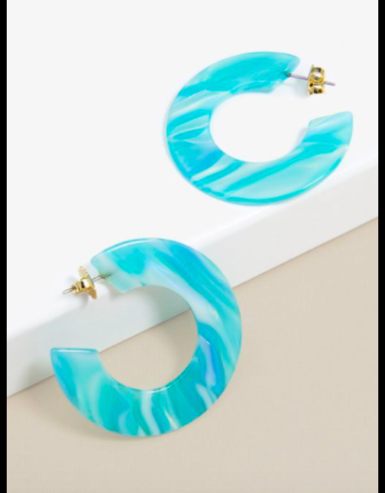 Zenzii Flat Tortoise Hoop Earrings in Aqua