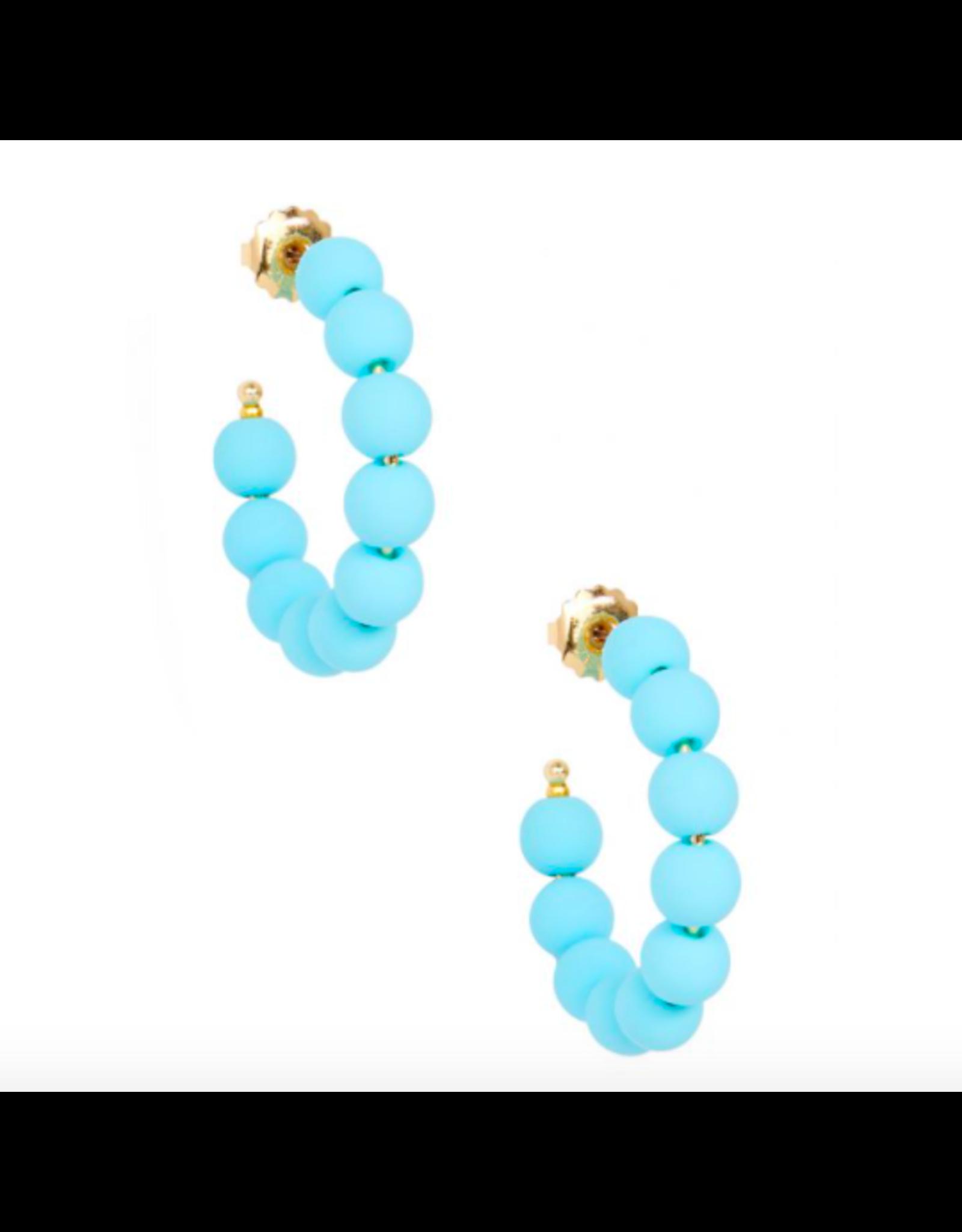Zenzii Matte Beaded Small Hoop in Bright Blue